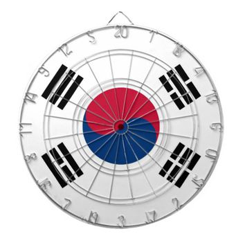 Dartboard with Flag of South Korea