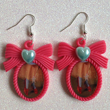 Wizard of Oz Ruby Slippers Inspired Cameo Earrings