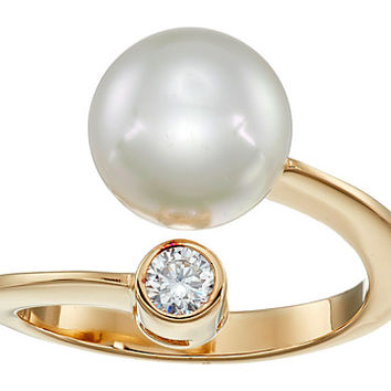 Majorica 10mm Pearl & CZ Wrap Ring