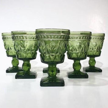 Green Park Lane Wine Glasses, Set of 6 Green Cordial Glasses, Mid Century Vintage Glass