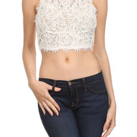Sleveless Corded Lace Crop Top (more colors)