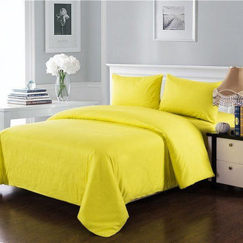 Tache 3-4 Piece Cotton Solid Sunny Yellow Comforter Set With Zipper