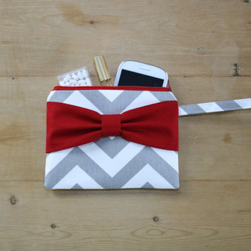 Cosmetic Case with Strap / Zipper Pouch / Makeup Bag - Gray Chevron Red Side or Center Bow - Choice of Bow Style