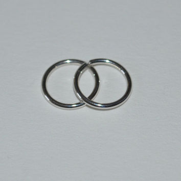 2 Small Sterling Silver Hoop Earrings, 18g Nose Ring, cartilage,catchless,seamless,endless,tragus,helix 18 Gauge nickel free