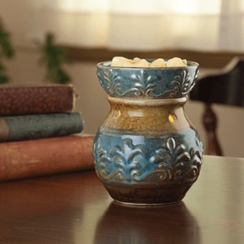 Fleur De Lis Candle Warmer Embossed ( Blue )