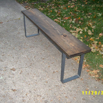 Wood Bench With Steel Legs, Wooden Bench, Wood Bench, Coffee Table, Industrial And Steel, Furniture, Entry Bench, TV Stand, Hallway Bench