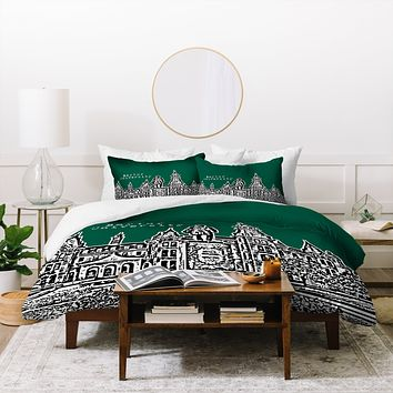 Bird Ave Baylor University Green Duvet Cover