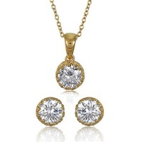 Crown Set Round Cut Clear Cubic Zirconia CZ 14K Gold Over Sterling Silver Vermeil Solitaire Pendant Necklace And Stud Earrings Matching 2 Pc Set #vs013