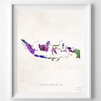 Indonesia Map, Asia, Print, Jakarta, Watercolor, Home Town, Poster, Country, Wall Decor, Painting, World, Living Room, Gift, Bed Room