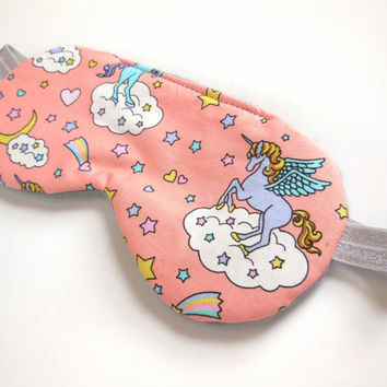Unicorns Sleep Eye Mask, Night Eyemask, Women Teen Girl Child Kid, Pre-teen Gift, Fleece Cotton, Gray Pink Peach, Toddler Nap Eye Cover