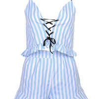 Blue V-neck Striped Lace Up Front Ruffle Crop Top And Shorts