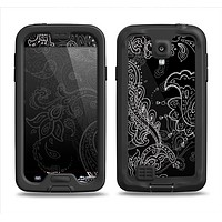The Black with Thin White Paisley Pattern Samsung Galaxy S4 LifeProof Nuud Case Skin Set