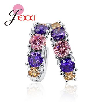 JEXXI Luxury 925 Sterling Silver Round Circle Pink CZ Cubic Zirconia Hoop Earrings Brincos Piercing Ear Accessories
