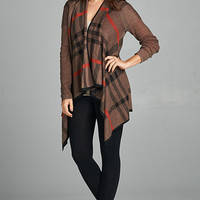 Plaid Cardigan - Mocha