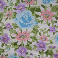 vintage fabric - vintage 60s Floral Fabric Panel with Ruffle - pinks and blues