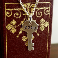 221B Baker Street Necklace. Sherlock Necklace. Hand Stamped Baker Street Key Necklace. Fandom Jewelry. 18 Inch Chain.