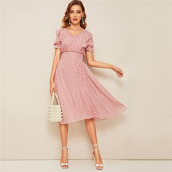 Pink Ruffle Trim Puff Sleeve Shirred Waist Boho Dress Fit and Flare Dress Women Elegant Empire Long Dresses