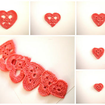 BUY 2 GET 3; Set of 10 romantic hearts; Crochet appliques; Crochet decoration; Crochet gift; VerLen crochet; Christmas decoration