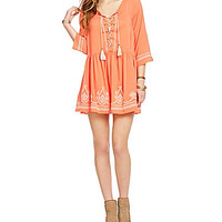 Coco + Jameson Lace-Up Embroidered Peasant Dress | Dillards.com