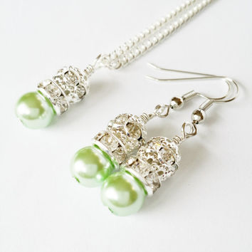 Mint Green and Silver Bridesmaids Wedding Necklace and Earring Set / Mint Green Pearls / Bridesmaid Jewelry Sets / Easter Basket Jewelry
