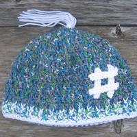 Crochet Hat with Hashtag Adult Size Beanie