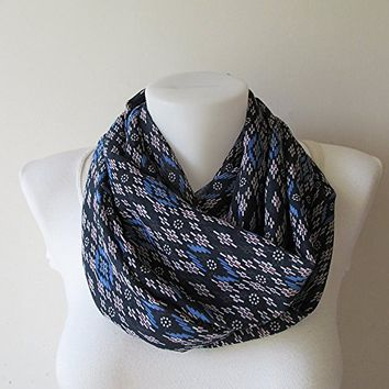 Navy Blue Infinity Scarf, Geometric Print Chiffon Scarf, Aztec Scarf, Tribal Print, Women Loop Scarf, Spring Summer Fashion, Gift For Her