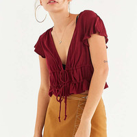 Kimchi Blue Modern Romance Cropped Ruffle Top | Urban Outfitters