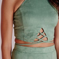 Missguided - Faux Suede Lace Up Front Crop Mint