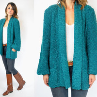 nubby TEAL baggy bouclé GRUNGE oversized grandpa CARDIGAN duster, extra small-medium
