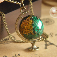 vintage bronze global and telescope traveling dream necklace jewelry