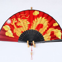 Hand made gift, chinese silk, Hand Fan, Chinese Dragon, accessory