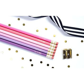 You Da Best Pencil Set in Pinks and Purples