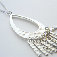 "Silver Necklace - Hammered Silver Fringe Necklace - Long Necklace - 24"" - Hammered Silver Fringe Pendant on Matte Silver Chain"