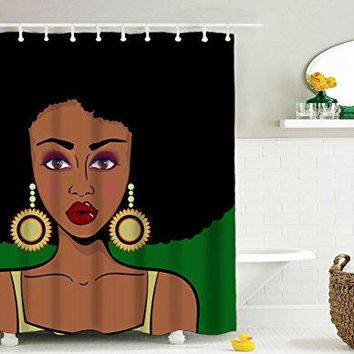 Afro Shower Curtain, Afircan American Black Hair Girl Waterproof Bathroom Shower Curtains, 72 x 72 Inch