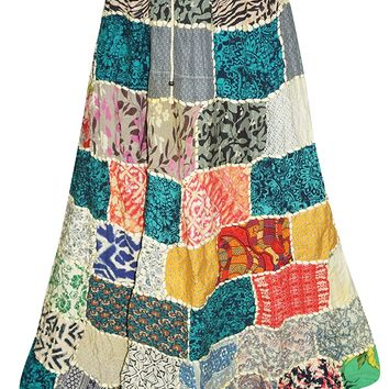 Vintage Patchwork Skirts Floral Print Peasant Long Skirts L