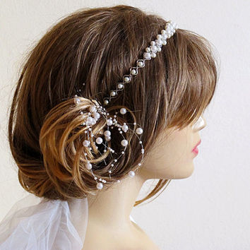 Wedding bridal headband, ivory Pearl, hairband, wedddings, Hair Accessory, hair accessories, Headpieces, headpiece, gift ideas, romantic
