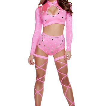 Long Sleeved Crop Top & High Waisted Shorts w/ Rhinestones - Hot Pink