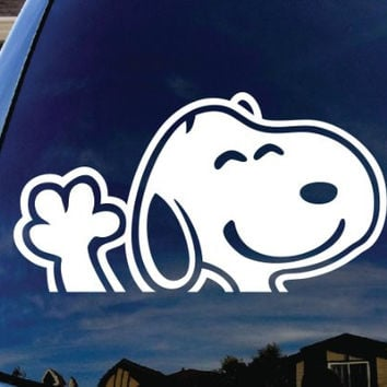 "Snoopy Waving Hi Car Window Vinyl Decal Sticker 5"" Wide"