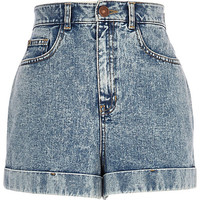 River Island Womens Light acid wash high waisted denim shorts