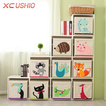 Cartoon Animal Folding Storage Box Children Clothes Toy Sundries Organizer Box Organic Cotton Cloth Toy Storage Bin