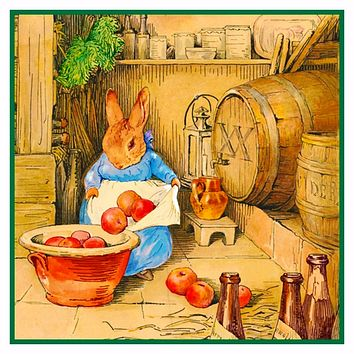 Bunny Rabbit Cicely Makes Cider inspired by Beatrix Potter Counted Cross Stitch or Counted Needlepoint Pattern