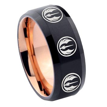 8mm Multi Jedi Star Wars Bevel Tungsten Carbide Rose Gold Men's Ring