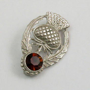 Vintage Scottish Thistle Brooch, Thistle Pin, Silver Tone, Amber Glass Stone, Signed CP