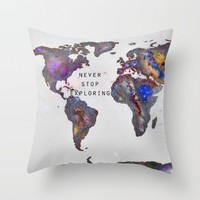 Star map. Never stop exploring... Throw Pillow by Guido Montañés