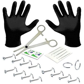 BodyJ4You Professional Body Piercing Kit 22 Pieces for Nose Ring Screw Twist Studs 20 Gauges 0.8mm