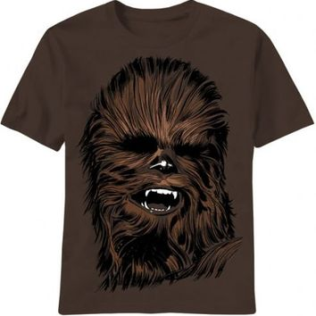 Star Wars Chewbacca Chewy Face Brown Adult T-shirt  - Star Wars - | TV Store Online