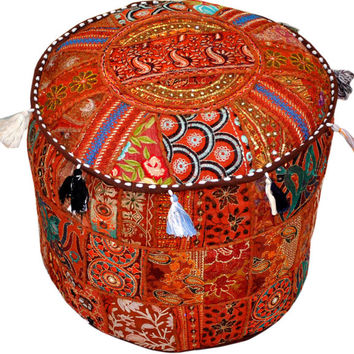 Bohemian Pouf Ottoman stool floor pillow decorative Cushion Ethnic Indian Decor bohemian stool chair pouffe pouffes Indian PILLOW bean bag