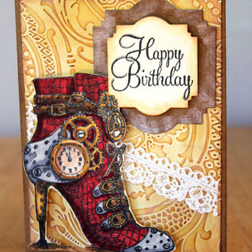 Happy Birthday Steampunk Card, Red High Heel on White Lace with Clocks and Gears by MrsKristenCreations on Etsy