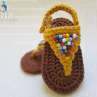 baby girl sandals baby shoes  baby girl shoes baby sandals  crochet sandals yellow shoes beaded sandals