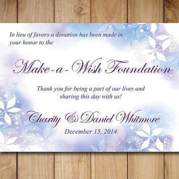 "Wedding Favor Donation Card Template - Winter Wedding Charity Favor Donation Card ""Watercolor Winter"" Navy Blue Purple Winter Wedding Favor"